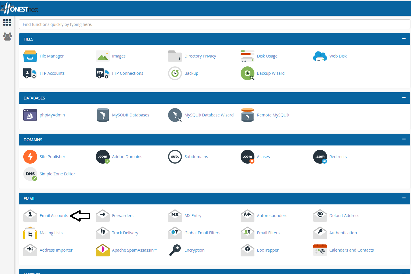 Cpanel backend, with Arrow Pointing to Mail